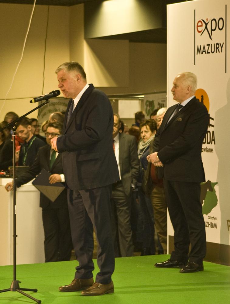 Uroczyste otwarcie Warmińsko-Mazurskiej Wystawy Zwierząt Hodowlanych i Targów Zagroda - głos zabiera Krzysztof Jurgiel, minister rolnictwa