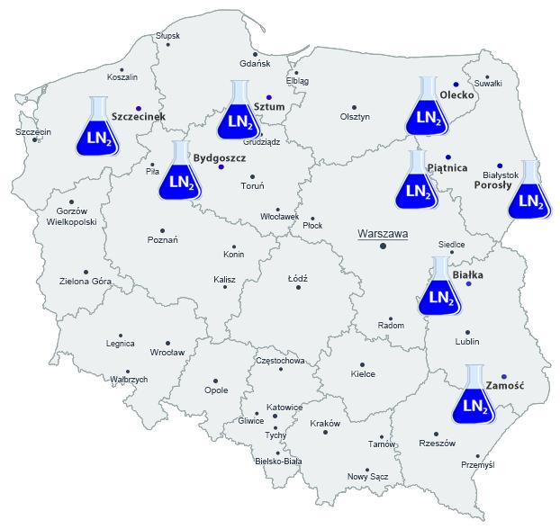mapa punkty sprzedaży azotu ciekłego