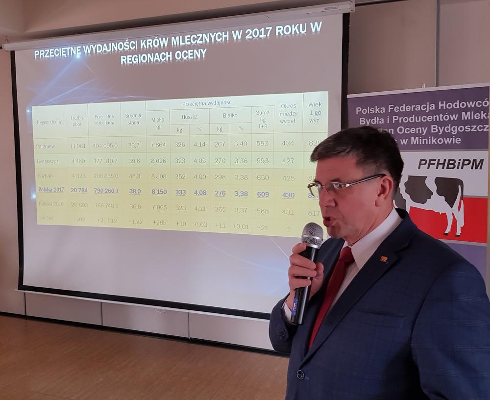 Janusz Nalewalski, kierownik biura PFHBiPM Region Oceny Bydgoszcz z/s w Minikowie przedstawia wyniki oceny produkcji mleka i hodowli w roku 2017
