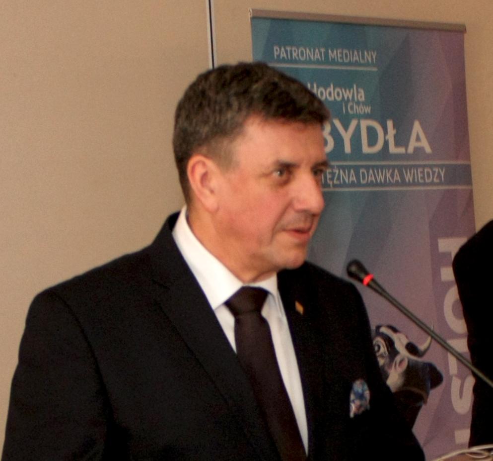 Janusz Nalewalski, dyrektor ds. oceny PFHBiPM Region Oceny Bydgoszcz. Spotkanie hodowców bydła mlecznego w Łysomicach, 7.03.2019