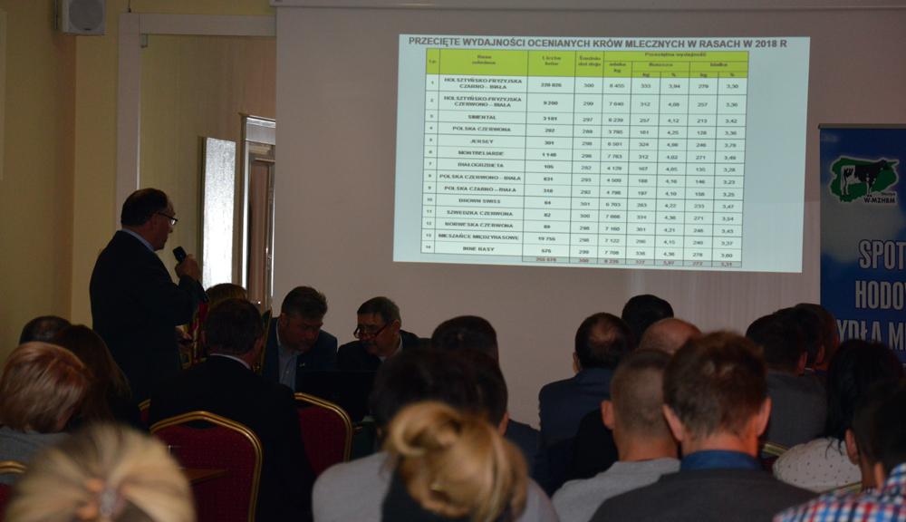 Zdzisław Szewczak, dyrektor Biura PFHBiPM w Olsztynie, prezentuje wyniki oceny w roku 2018