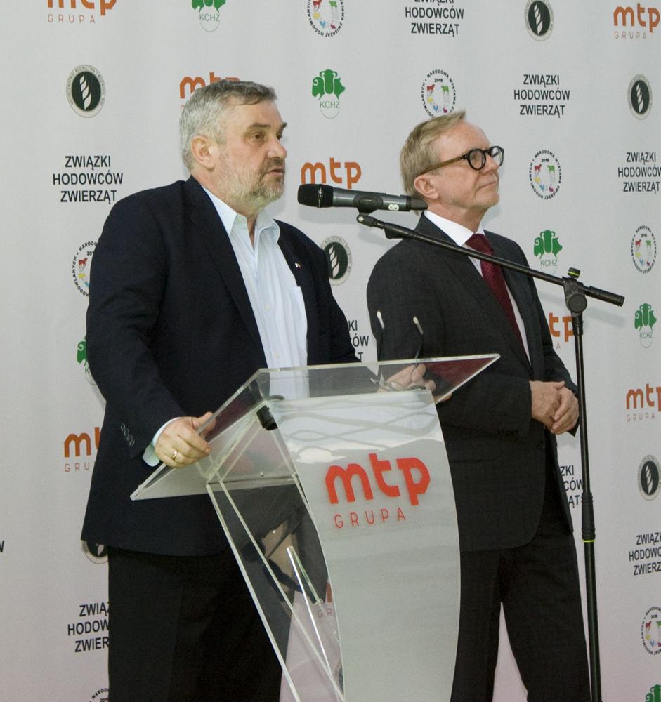 Jan Krzysztof Ardanowski, minister rolnictwa, Przemysław Trawa, prezes Zarządu MTP, otwierają Narodową Wystawa Zwierząt Hodowlanych