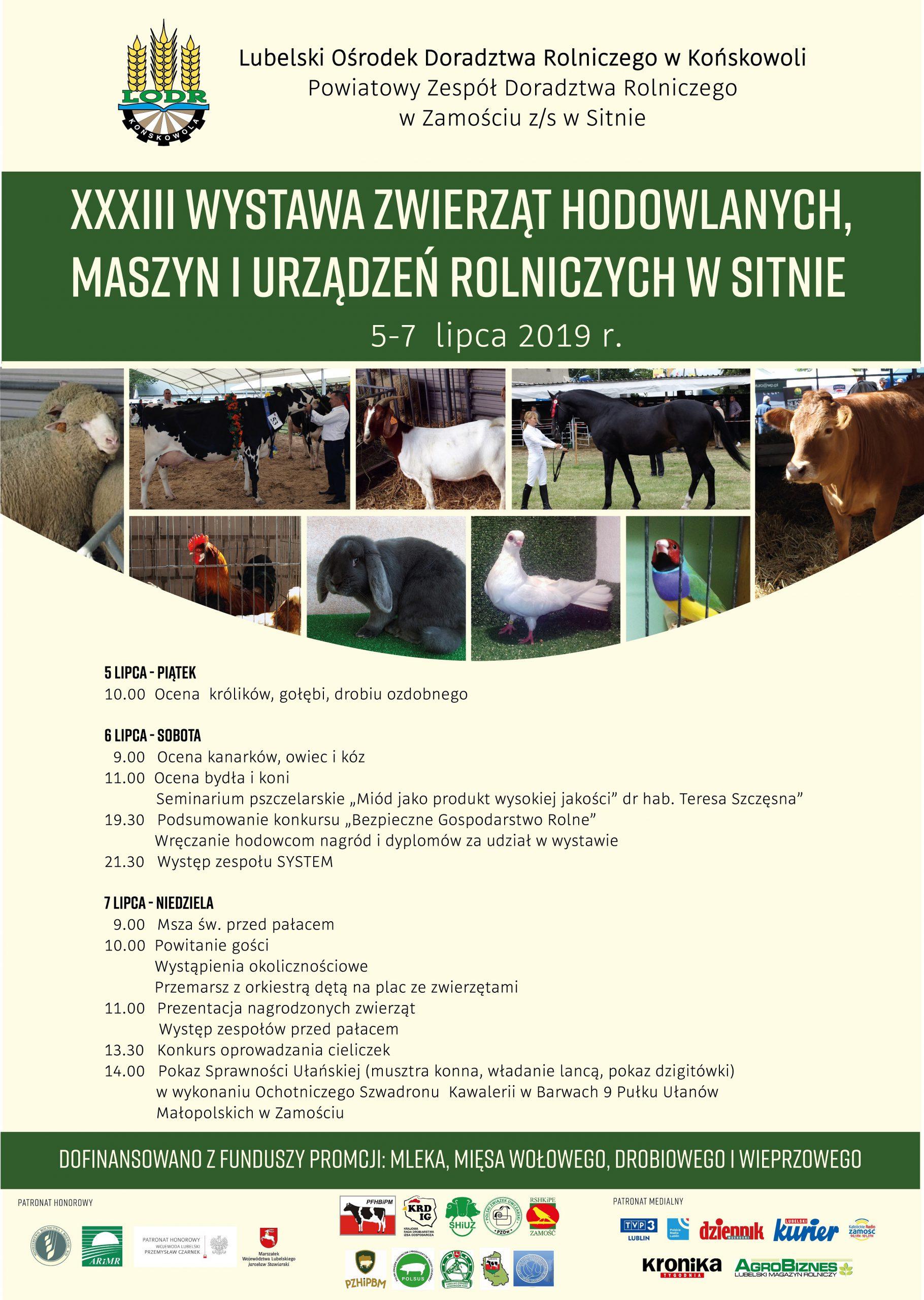 Program Wystawy Zwierząt Hodowlanych w Sitnie 2019